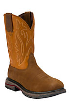 Wolverine Mens Brown w/ Orange Javelina Top Square Steel Toe Western Wellington Boot