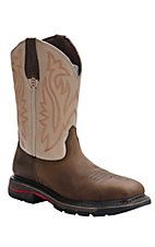 Wolverine® Mens Distressed Brown w/ Tan Javelina Square Steel Toe Western Wellington
