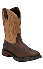 Wolverine Mens Dark Brown w/ Tan Top Square Toe Western Wellington Boots