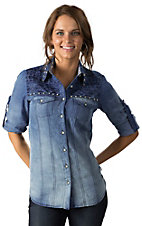 Roar Women's Ombre Denim with Silver Stud and Embroidery Long Sleeve Western Shirt