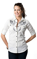Roar® Women's Lattice White with Black Embroidery Long Sleeve Western Shirt