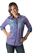 Roar® Women's Aquarius II Purple with Aqua Embroidery 3/4-Long Sleeve Western Shirt