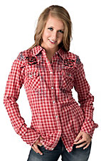 Roar® Women's Paint The Town Red Plaid w/ Embroidery & Rhinestones Long Sleeve Western Shirt