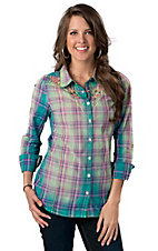 Roar® Women's American Summer Lime Green, Turquoise & Pink Plaid with Embroidery Long Sleeve Western Shirt