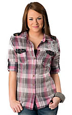 Roar® Women's Pink and Grey Plaid with Cross Embroidery and Black Lace 3/4 Sleeve Western Shirt