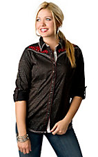 Roar® Women's Black Distressed Leopard with Red Embroidery Long Sleeve Western Shirt