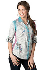 Roar® Women's Roar Electric Leopard, Pink and Blue with Floral Embroidery Long Sleeve Western Shirt