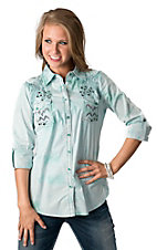 Roar® Women's Ikat Get Enough Mint Embroidered Rhinestone Long or 3/4 Sleeve Western Shirt