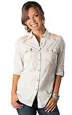Roar® Women's Spirited II Faded Blue and Yellow Plaid with Neon Orange Embroidery 3/4-Long Sleeve Western Shirt