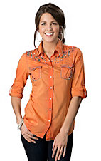 Roar® Women's Take To Flight Orange with Embroidery and Crystals Long Sleeve Western Shirt