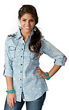 Roar® Women's Sweet Ellie Sky Blue with White Floral Print & Black and Pink Embroidery Long Sleeve Western Shirt