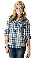 Roar® Women's Sasafras Blue Plaid with Turquoise Lace and Sequins Long Sleeve Western Shirt