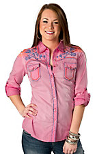 Roar® Women's Pink Thrush with Blue and Orange Rose Embroidery Long Sleeve Western Shirt