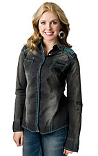 Roar® Women's Black Lariat with Turquoise Sequin Yokes Long Sleeve Western Shirt