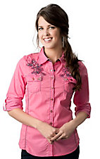 Roar® Women's Sidewinder Pink with Blue Embroidered Cross Long Sleeve Glittery Western Shirt