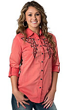 Roar® Women's Vintage Ellie Coral with Embroidery Long Sleeve Western Shirt
