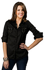 Roar® Women's Black Miss Ari with Embroidery and Rhinestones Long Sleeve Western Shirt