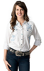 Roar® Women's Tornado White Stripe w/ Light Blue Embroidery Cross Long or 3/4 Sleeve Western Shirt