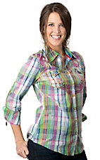 Roar® Women's Flighten Green, Purple and Blue Plaid with Embroidery and Crystals Long Sleeve Western Shirt