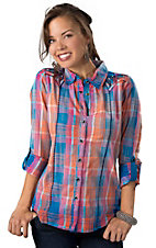 Roar® Women's Infinity Blue, Orange and Pink Distressed Plaid with Black Embroidery Long Sleeve Western Shirt