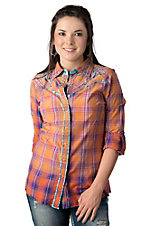 Roar® Women's Chailenger Mrs Orange Plaid w/ Embroidery & Studs Long Sleeve Western Shirt