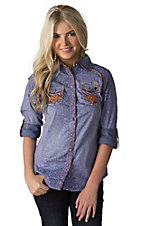 Roar Women's Arivation Blue Cheetah with Embroidery & Crystals 3/4-Long Sleeve Western Shirt