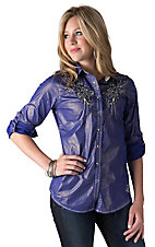 Roar Women's Life Force Metallic Blue Embroidered 3/4 - Long Sleeves Western Shirt