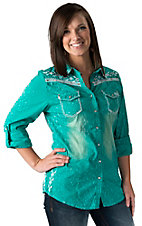 Roar Women's Fire & Water Teal with Embroidered Cross Long Sleeves to 3/4 Sleeves Western Shirt