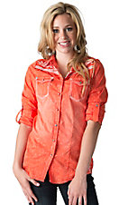 Roar Women's Fire & Water Orange with Embroidered Cross Long Sleeves to 3/4 Sleeves Western Shirt