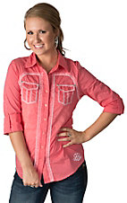 Roar Women's Revitalize Pink with White Tribal Stitching Long Sleeve Western Shirt
