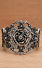 Wear N.E. Wear® Antique Silver Rose and Rhinestone Bracelet