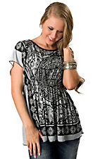 Angie® Women's Black and Dusty Blue Bandana Print Short Sleeve Tunic