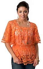 Angie® Women's Orange Lace with Wide 3/4 Sleeves Fashion Top