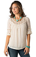 Angie® Women's Ivory Swiss Dot and Lace 3/4 Sleeve Fashion Top