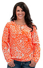 Angie® Women's White with Neon Orange Flower Print Long Sleeve Fashion Top