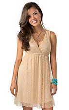 Angie® Women's Sand Lace V-Neck Sleeveless Dress