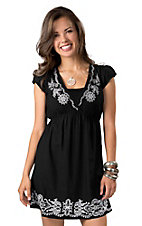 Angie® Women's Black with White Embroidery V-Neck Short Sleeve Dress