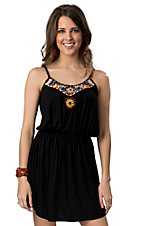 Angie® Women's Black Knit with Beads Sleeveless Tank Dress