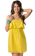 Angie® Women's Yellow Eyelet with Ruffle Top Sleeveless Dress