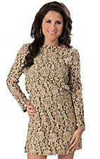 Angie® Women's Tan Antique Ivory and Black Lace Long Sleeve Dress