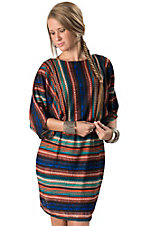 Angie® Women's Multi Striped Empire Waist Short Dolman Sleeves Dress