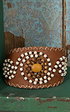 Pannee® Cream & Brown Beaded Swirl Tan Leather Cuff