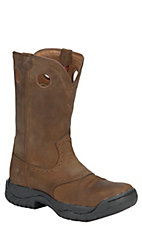 Twisted X Men's Distressed Brown Round Toe Saddle Vamp All Around Pull On Work Boots