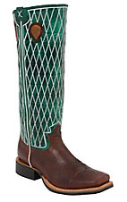 Twisted X® Men's Cognac w/ Turquoise Diamond Stitch Tall Buckaroo Punchy Wide Square Toe Western Boots