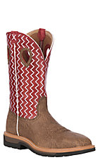 Twisted X Distressed w/Red Top w/White Zig-Zag Stitch Steel Toe Square Toe Work Boot