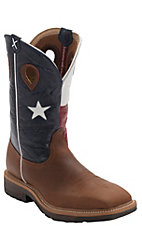 Twisted X Brown with Texas Flag Top Square Toe Work Boot - Steel Toe