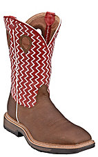 Twisted X Men's Distrssed Brown with Red Zig Zag Top Square Toe Western Work Boots