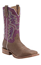 Twisted X Men's Distressed Grain Brown with Purple Top Double Welt Square Toe Western Boots