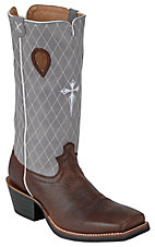 Twisted X® Ruff Stock™ Men's Brown w/ Blue Diamond Stitch Stovepipe Square Toe Boots