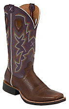 Twisted X® Ruff Stock™ Men's Brown w/ Purple Top Punchy Wide Square Toe Western Boots